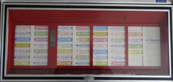 Deckel mit der Information, welche Singles spielbereit in der Jukebox sind